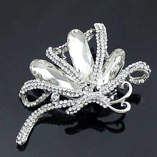 1 Pc Silver Tone Clear Rhinestone Crystal Party Beautiful Butterfly Brooch Pin