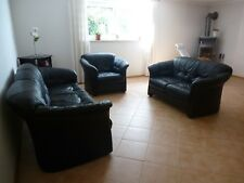 Sofagarnitur 3 + 2 + 1 Sitzer Sofa Sessel Leder Polster Couch Garnitur schwarz