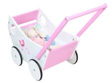 Puppenwagen aus Holz Weiß Rosa Lauflernwagen Holzpuppenwagen Kinder