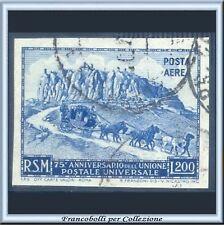 1951 San Marino Posta Aerea UPU L. 200 Non Dentellato n. 96 U.P.U. Usato
