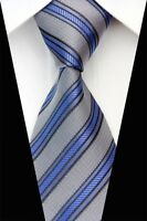 PT0585 Gray Blue Stripe New Silk Jacquard Woven Man's Casual Tie Necktie S