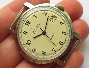 Vintage soviet VOSTOK watch Oval chromed case, Creme dial USSR / CCCP