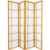 HONGVILLE Shoji 3-4 Panel, Black/Cherry/Natural Screen Wood Framed Room Divider