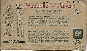 1940s? Maudella 1139 sewing pattern Girl's BLAZER sew RARE Malt Whiskey booze AD
