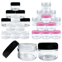 6 Jars  1oz/30G/30ML Round Top Plastic Makeup Cosmetic Sample Jar Containers