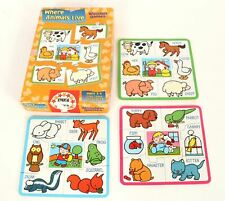 Set of 3 Educa 7-Piece Wooden Puzzle Game Where Animals Live Ages 3-6
