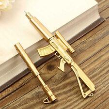 Personality Gold Rifle Gun Shape Black Ink Ballpoint Pen Stationery Kids Gift CA