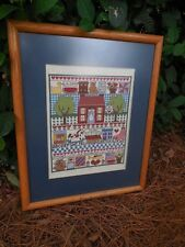 "Sampler Needle Point Professionally Matted & Framed 17"" x 20""  Vintage Handmade"