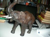 "Large Carved  Elephant With Leather Ears And Realistic Eyes 12"" Long 9"" high"