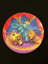 "•• Children's Plastic Plate - Circus Design 8"" Elephant Lion Bear Tiger"