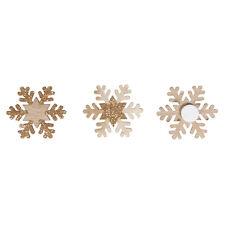 12 Holz Schneeflocken 35mm natur gold glitter Eiskristalle Streudeko Streuteile