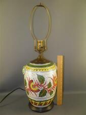 ANTIQUE PRE WAR JAPAN HAND PAINTED FLORAL POTTERY TABLE LAMP SIGNED
