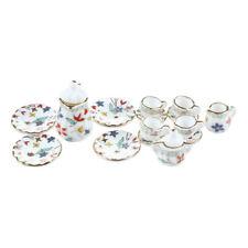 15pcs Miniature Dollhouse Dinnerware Porcelain Tea Set Tableware Cup Plate D5s5