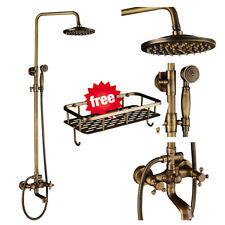 Antique Brass Shower Kit Bathroom Mixer Tap Faucet 3 Way Rigid Riser with Shelf