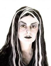 Ladies Negro + Blanco Veteada Peluca Disfraz Traje Elegante Halloween Fiesta Accesorio