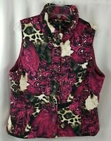 Bandolino Puffer Women's Pink Black Puffer Vest Size Large Multi-Color