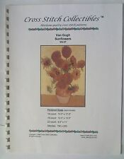 CROSS STITCH CHART PATTERNS VAN GOGH SUNFLOWWERS HEIRLOOM YELLOW BROWN ORANGE