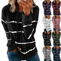 Plus Women Loose O-Neck Tops Hooded Long Sleeve Sweater Jumper Blouse Pullover