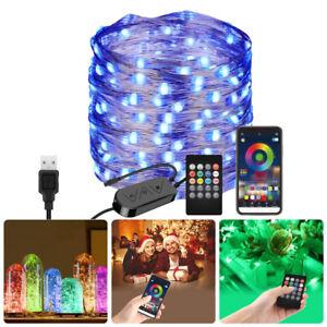 LED USB RGB Color Changing Fairy String Light Bluetooth App Remote Control Xmas
