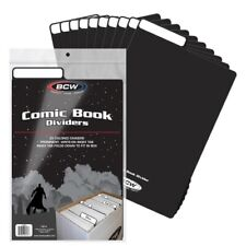25 Bcw Black Comic Book Plastic Dividers With Folding Write On Tab Free Shipping
