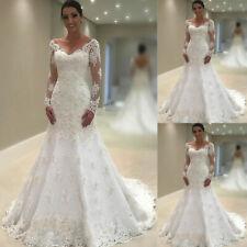 Elegant Long Sleeve Wedding Dresses Mermaid Lace Bridal Gowns V-neck Custom Made