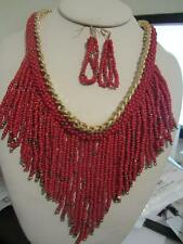 Red Glass Seed Bead Gold Tone Link Tassel Necklace Earring