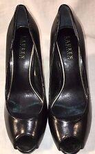 Ladies Ralph Lauren LAUREN classic black leather stiletto peeptoe pumps, 8M EUC