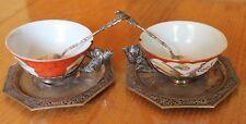2 tasse sous tasse et cuillère argent et porcelaine de chine décor de personnage