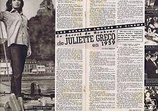 Coupure de presse Clipping 1959 Juliette Greco   (4 pages)