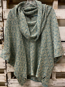 St. John Santana Knit Draped Cowl Neck Poncho Sweater