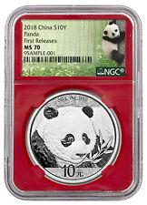 2018 China 30 g Silver Panda ¥10 NGC MS70 FR Red Panda Label SKU50533