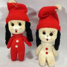 Two Vintage Flocked Christmas Dog Ornaments White Red Hats
