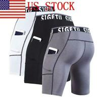 Mens Compression Shorts Sports with Pocket Quick Dry Tights Workout Short NEW
