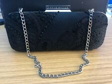 Karen Millen Black Evening Clutch Shoulder Bag Applique Flower VGC