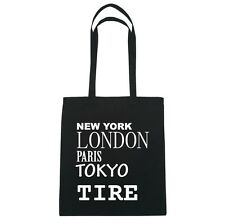 New York, London, Paris, Tokyo NEUMÁTICO - Bolsa De Yute - Color: negro