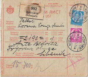 1939 Yugoslavia parcel bulletin franked from Debeljaca to Sibenik