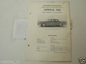 I1--IMPERIAL 1956 IMPERIAL EN CROWN IMPERIAL ,TECHNICAL INFO CAR CLASSIC
