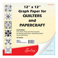 Graph Paper Quilter 12x12in Sewing 25 Sheets Drawing 12 8 And 4Inch Squares