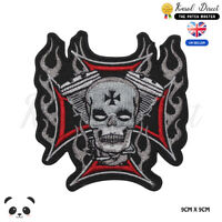 Biker Skull Cross Head  Embroidered Iron On Sew On PatchBadge For Clothes etc