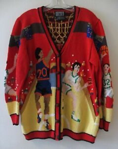 BEREK Vintage Red Multi Cotton Hand Knit Basketball Sports Cardigan Sweater M