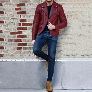 Winter Mens Leather Slim Fit Jacket Biker Jackets Motorcycle Coat Casual Outwear