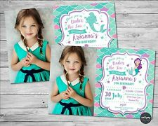 MERMAID PERSONALISED INVITATIONS INVITE CARD GIRLS BIRTHDAY PARTY UNDER THE SEA