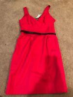 NWT Express Design Studio Pink Salmon Fuchsia Belted Spring Summer Dress Size 4