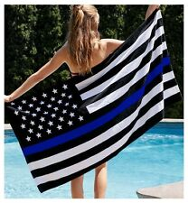 "THIN BLUE LINE FLAG BEACH TOWEL 30"" x 60"""