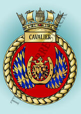 HMS CAVALIER CREST ON A METAL SIGN 5 x 7 INCHES FITS STANDARD PHOTO FRAME.