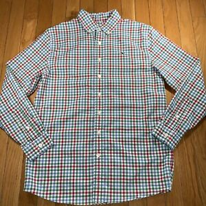 Vineyard Vines Logo Whale Button Front L/S Shirt Boys Large 16 Red Blue & Green