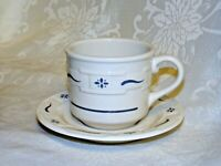 Longaberger Pottery Woven Traditions Classic Blue Coffee Tea Cup saucer Set USA