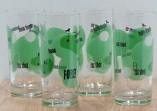Set of 4 Golf Theme Water Drinking Iced Beverage Glasses 6 1/2 Tall