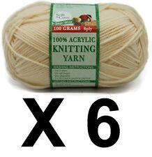 Knitting wool 6 x 100g acrylic yarn 8ply Light Yellow 100% Brand New