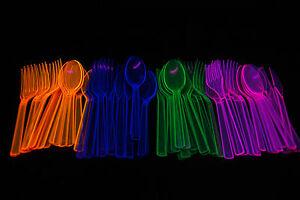 Neon Blacklight Reactive 51 piece Plastic Cutlery Set
